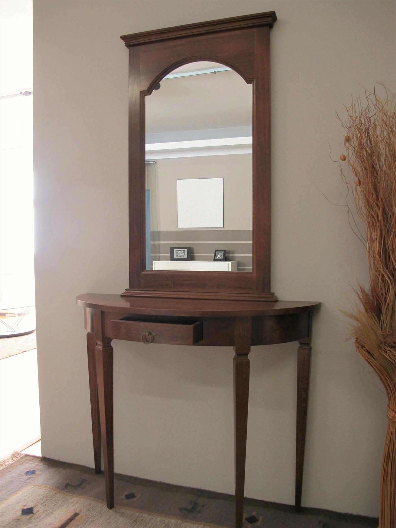 Consolle e specchio in legno noce complementi a prezzi - Specchio in legno ...