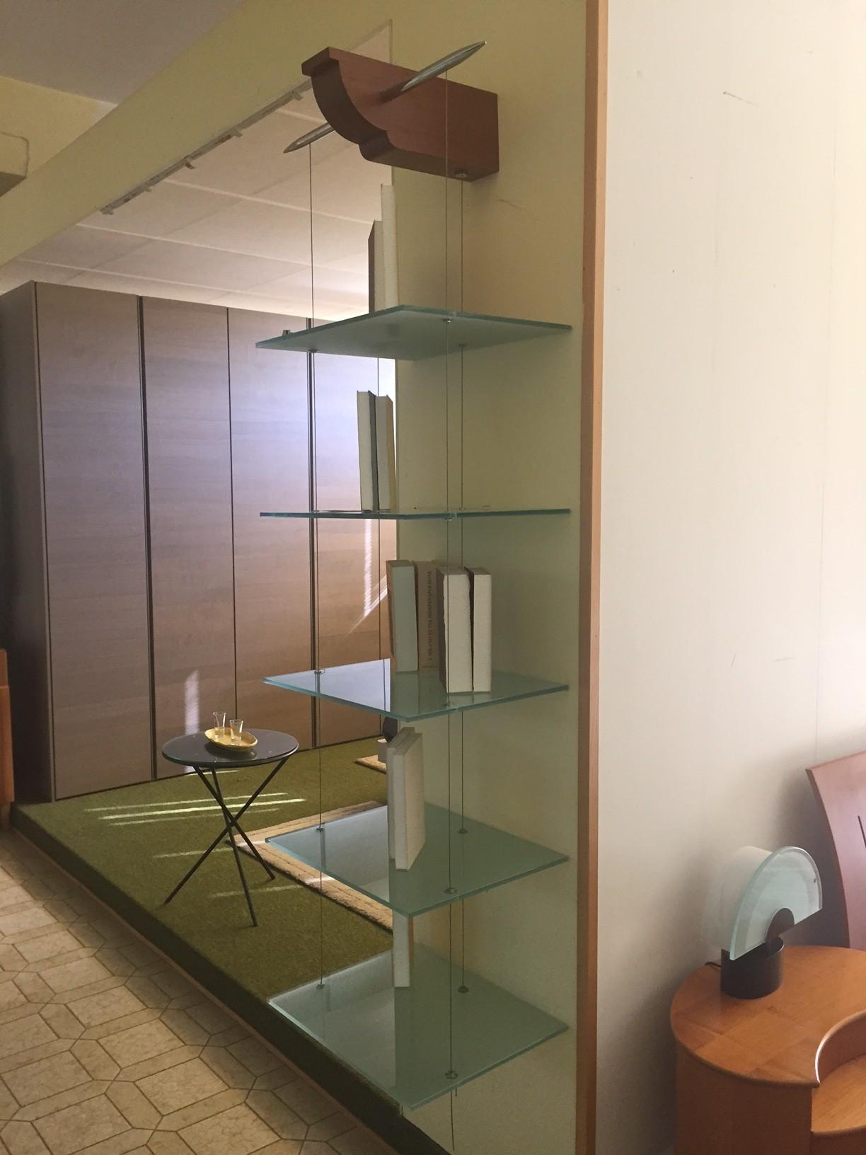 Libreria cattelan italia in vetro sospesa complementi a for Libreria acciaio e vetro