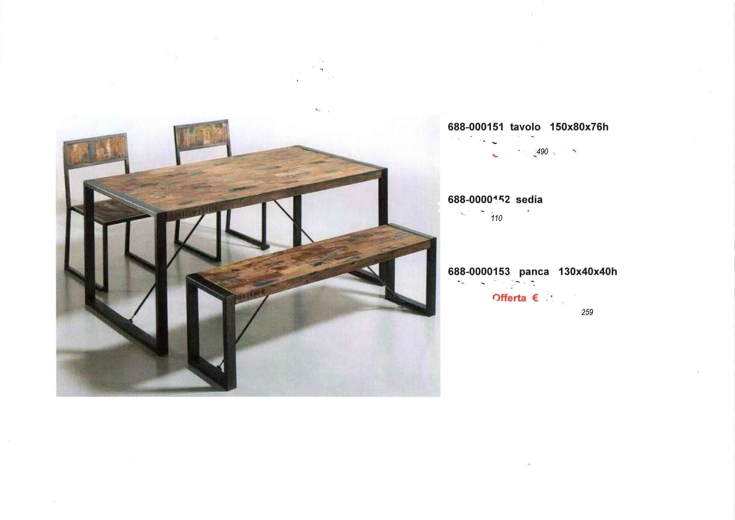 Panca tavolo sedie industriale complementi a prezzi scontati for Tavolo industrial style
