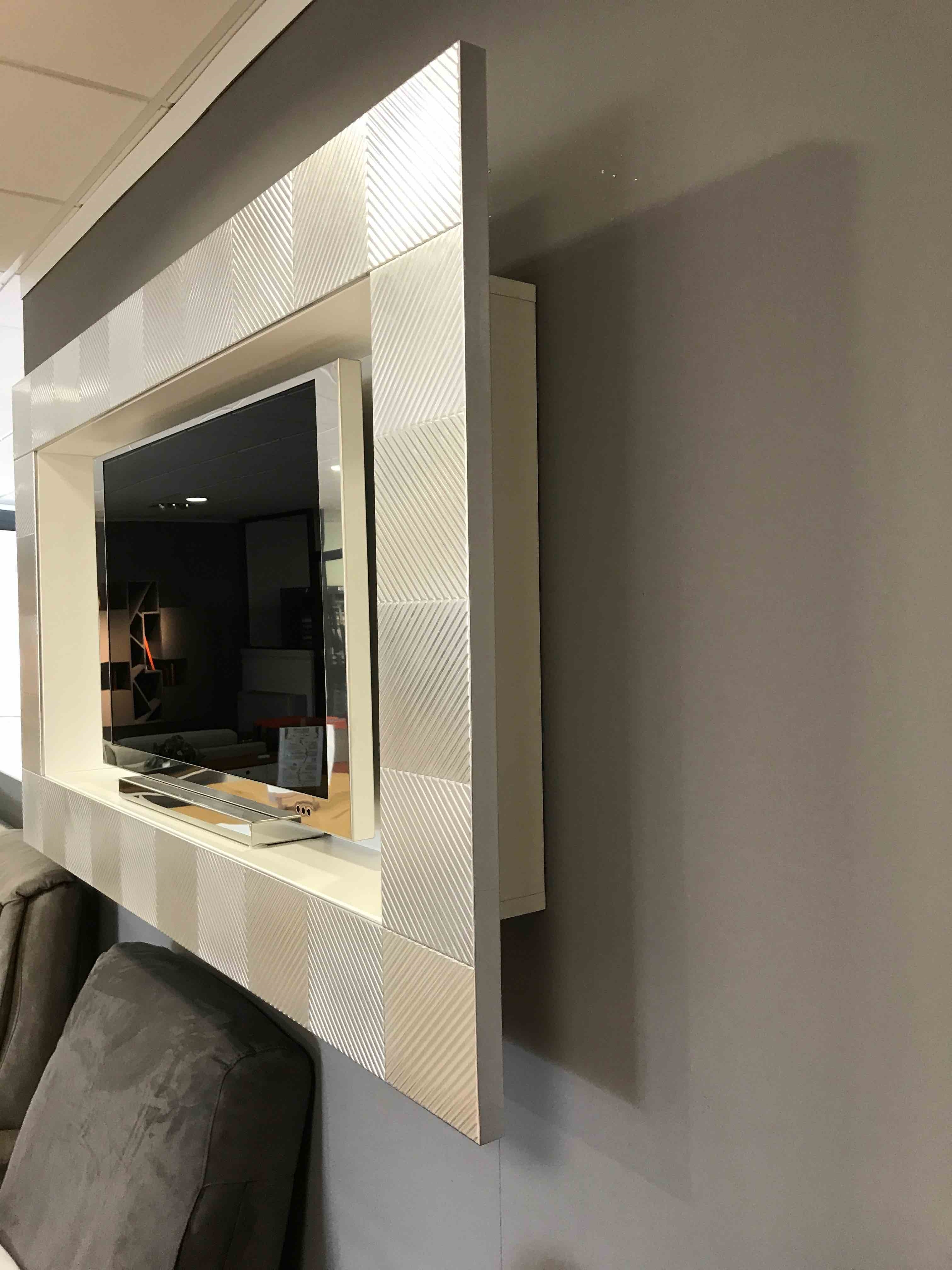 Porta tv a parete foglia argento complementi a prezzi for Mazzola arredamenti