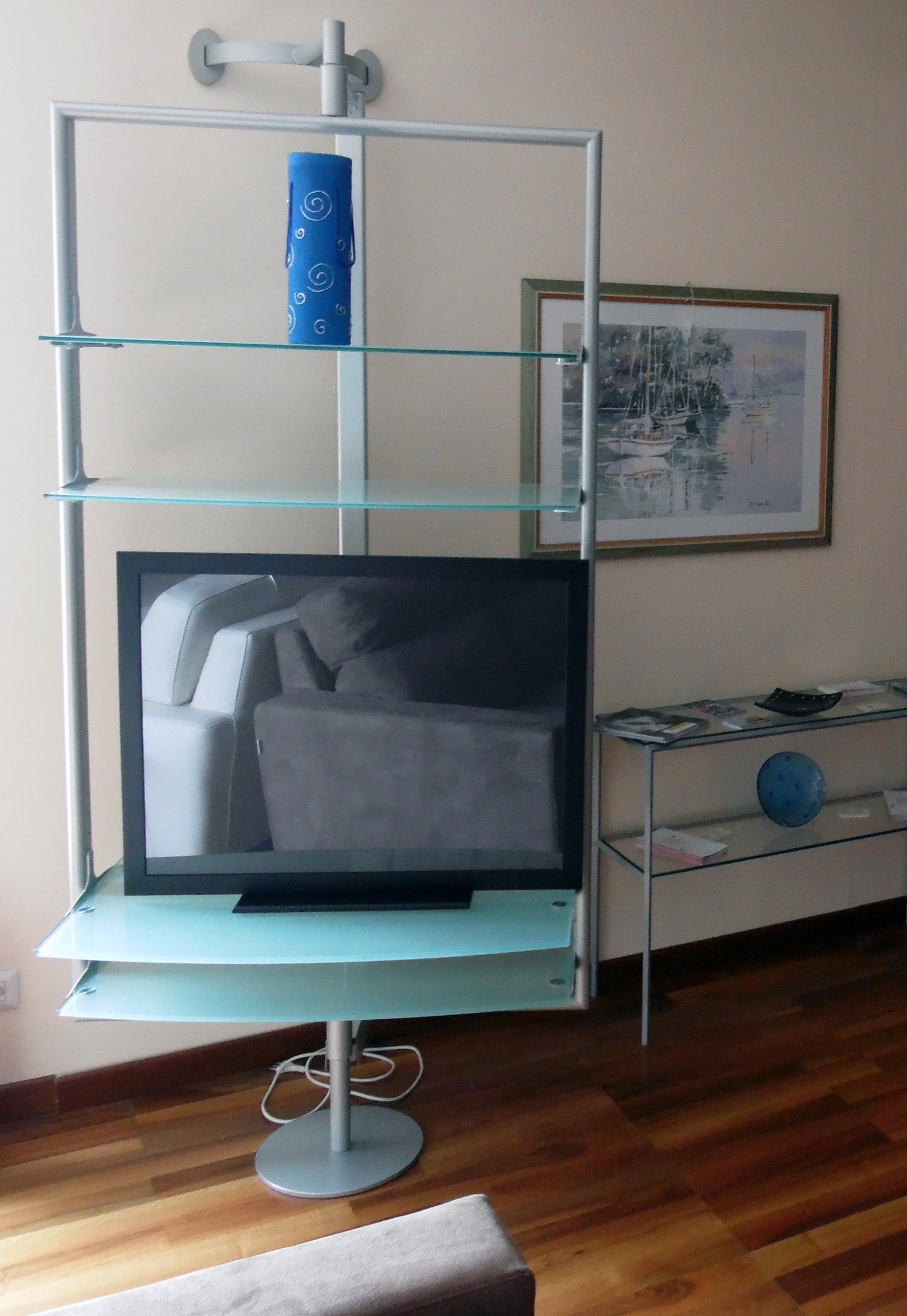 Porta tv flai panoramic ripiani in cristallo satinato for Flai arredamento