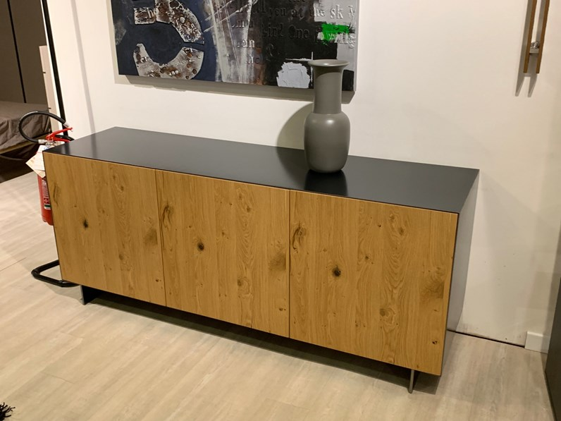 Porta tv in stile Design in legno Cucine noventa Madia rovere naturale +  metallo