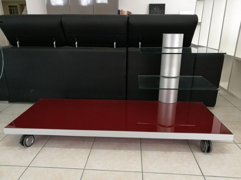 Porta tv moderno in vetro rosso flai design in offerta for Flai arredamento