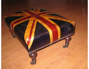Pouf in pelle Union Jack Dialma brown a PREZZI OUTLET