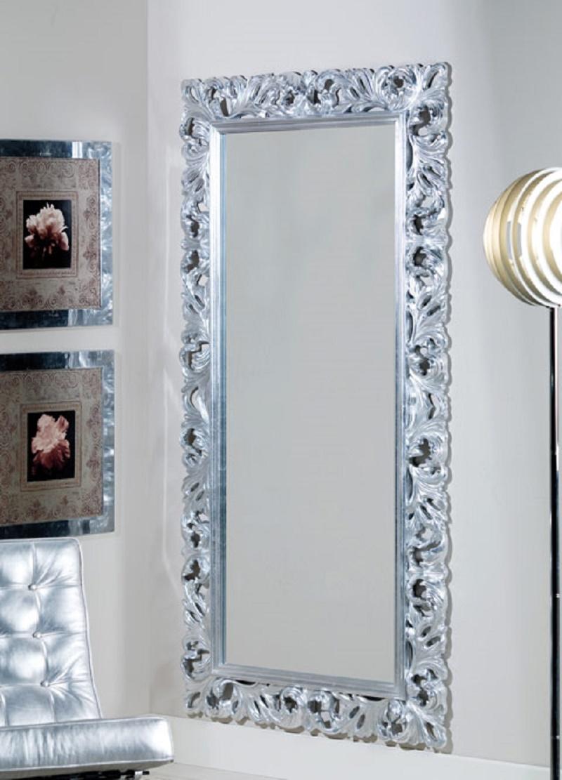 Specchiera Lunga Cornice In Legno Intarsiata Complementi