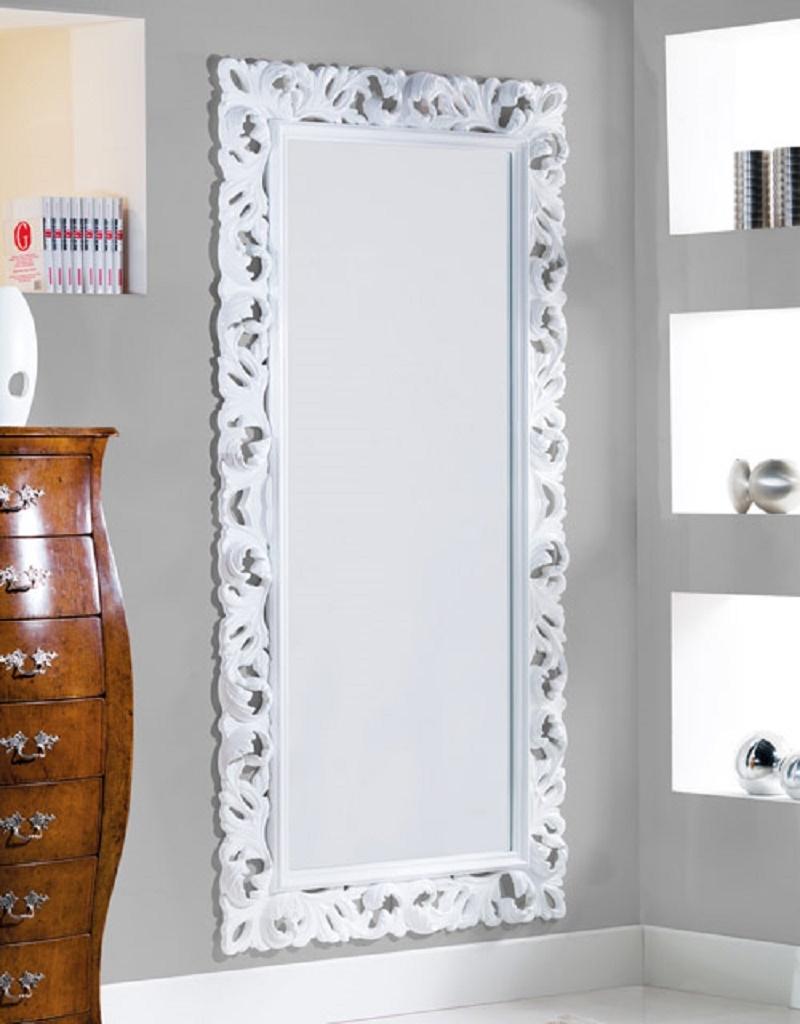 Specchiera lunga cornice in legno intarsiata complementi - Specchiera bagno legno ...