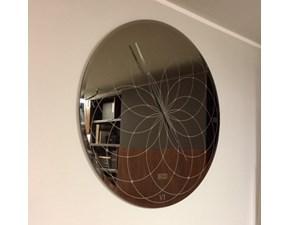 Specchio-Orologio da parete produzione Riflessi,modello Roma in vetro Fume' serigrafato,diametro cm.100
