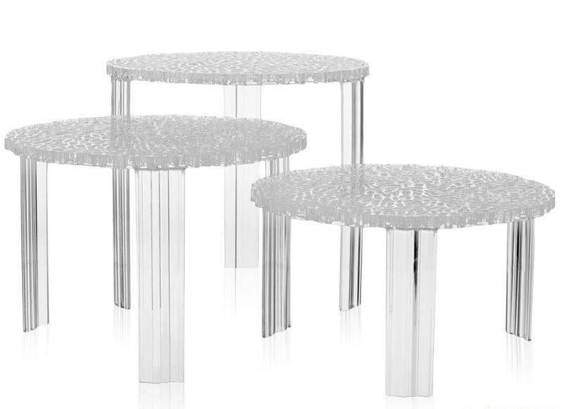 tavolini kartell t table trasparenti tris complementi a
