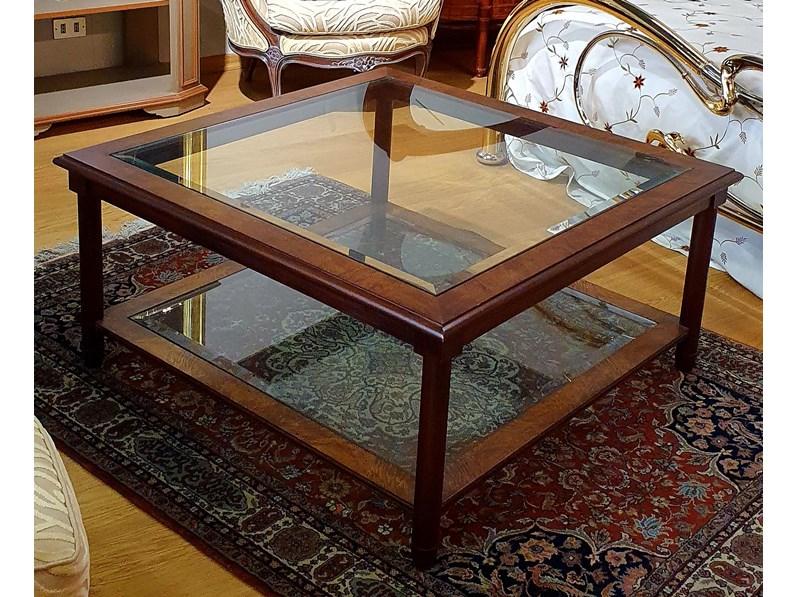 Tavolino Da Salotto Quadrato Mogano Radica Cristallo Artigianale In Legno In Offerta Outlet