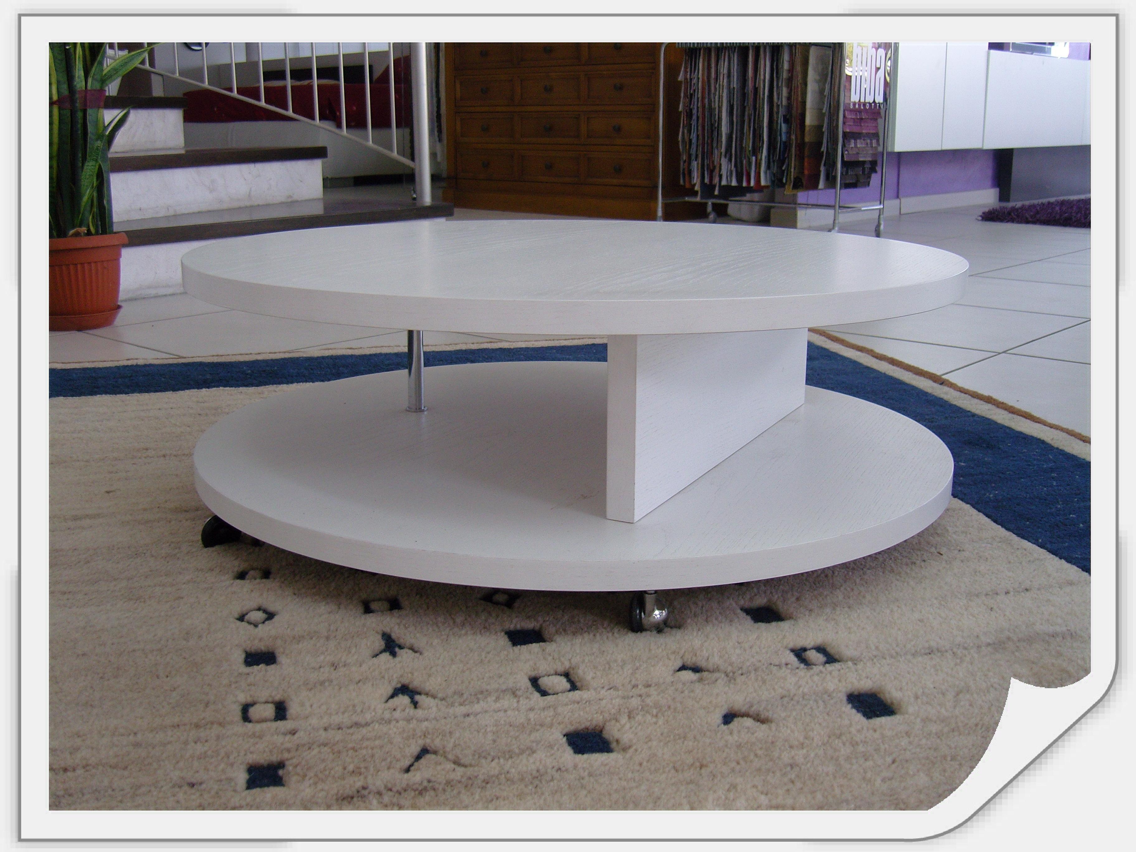 Tavolino da salotto tondo con ruote scontato del 50 for Tavolino salotto bianco laccato