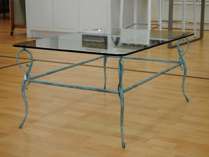 Tavolo da salotto in ferro battuto con piano in vetro in - Tavolo ferro battuto e vetro ...