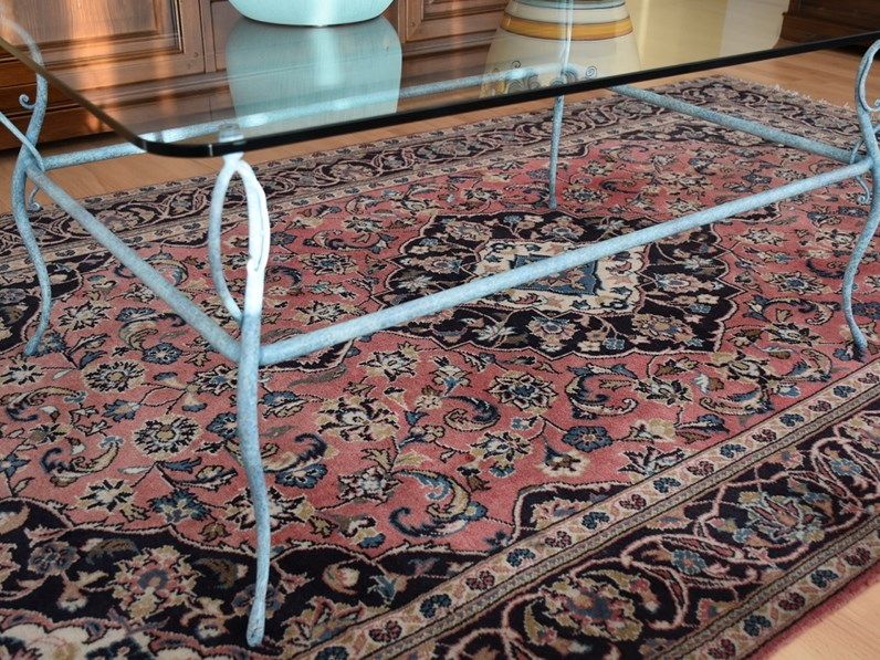 Tavolino Salotto Ferro Battuto E Vetro.Tavolo Da Salotto In Ferro Battuto Con Piano In Vetro In