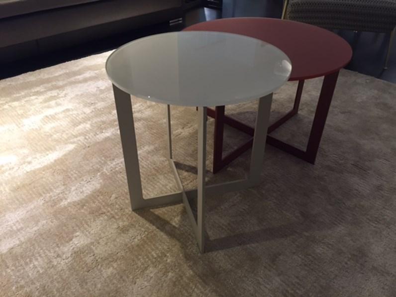 Tavolino molteni domino rotondo con piano in vetro lucido for Domino arredamenti
