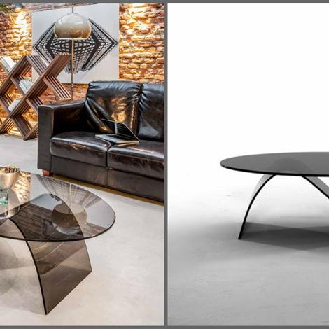 outlet Tavolino ovale modello Alissa in cristallo fumè