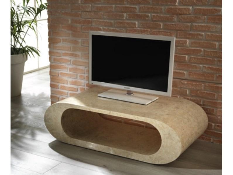 Tavolino Per Tv.Tavolino Porta Tv In Pietra Fossile Marmo 3 Colori