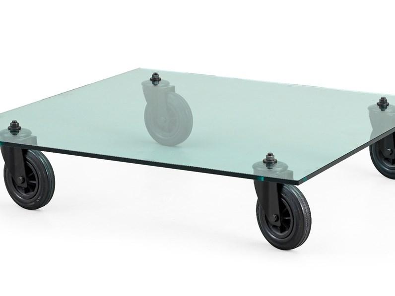 Tavolino Con Le Ruote.Tavolino In Vetro Con Ruote Di Fontana Arte Sconto Del 15