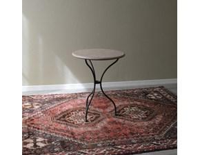 Tavolino Tondo con piano in marmo rosa e struttura portante in ferro battuto. Scontato del -53%. Offerta Outlet Mobilgross.