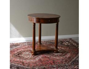 Tavolino tondo stile Impero in noce con piano intarsiato e colonne noce. Scontato del -44%. Offerta Outlet Mobilgross