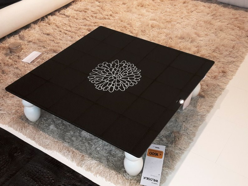 Tavolino vetro nero con fiore bianco serigrafato for Visma arredo prezzi