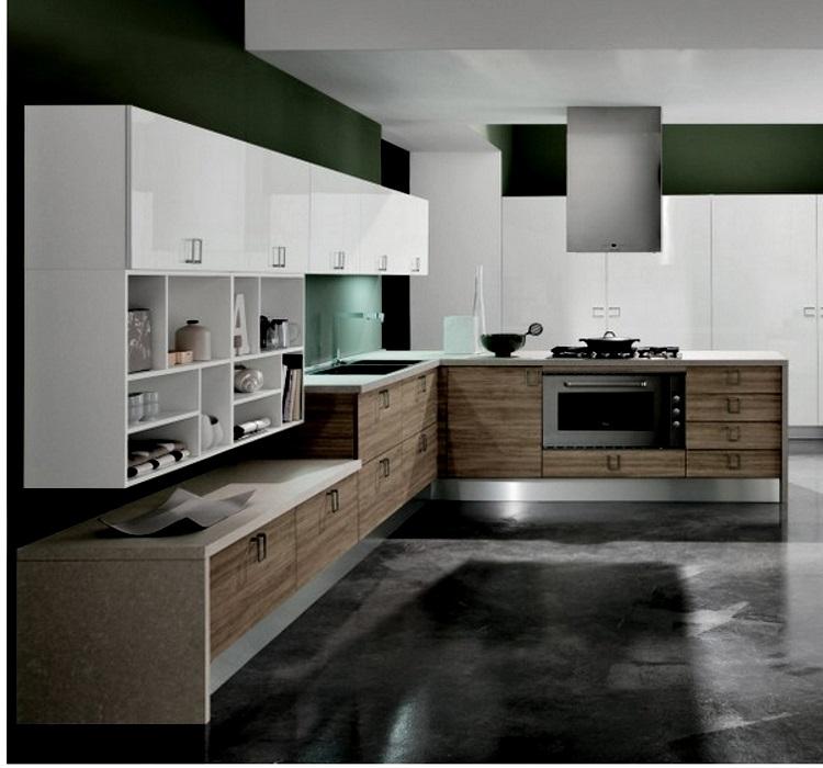 Cucina con penisola moderna shabby vintage chic piano top completa in offerta outlet nuovimondi - Cucina angolare con penisola ...