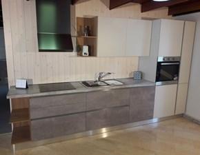 Cucina lineare modello 22 finitura cemento grigio completa di elettrodomestici in offerta