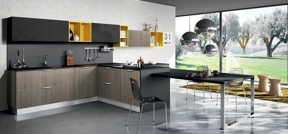 Arredo3 cucine modello duna con penisola e tavola - Cucina penisola tavolo ...