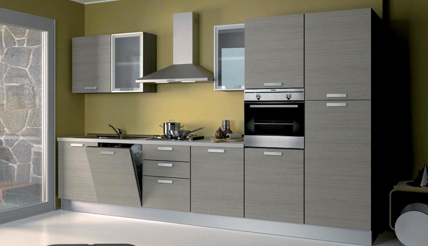 Cucina gayla colore legno rovere cenere finitura melinga - Colori top cucina ...