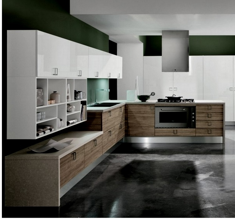 cucina moderna living angolare olmo essence bianco opaco e olmo ...