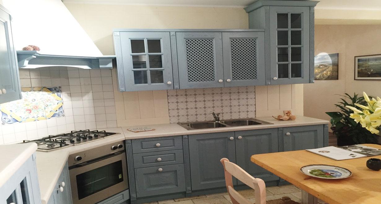Cucina ad angolo arrex modello monica decapata azzurra - Composizione cucina ad angolo ...