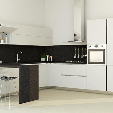 Cucina ad angolo con bancone ed elettrodomestici inclusi, nuova a ...