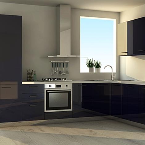 Cucina ad angolo con finitura colore blu nuova a prezzo for Cucina nuova prezzi