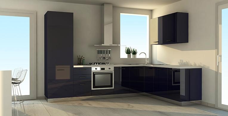 Cucina ad angolo con finitura colore blu, nuova a prezzo scontato ...