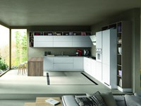 Cucina ad angolo Cucina componibile mod.stella versione laminato bianco  venato e rovere grigio Artigianale con un ribasso del 35%