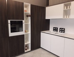 Cucina ad angolo in laminato materico bianca Ak_project  a prezzo scontato