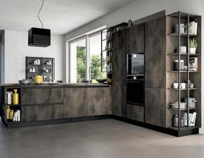 Cucina ad angolo in laminato materico grigio Cucina  moderna industrial line fusion in offerta  a prezzo scontato