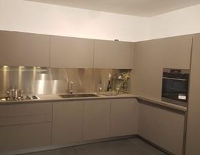 Cucina ad angolo in laminato materico grigio Easy 30° a prezzo ribassato