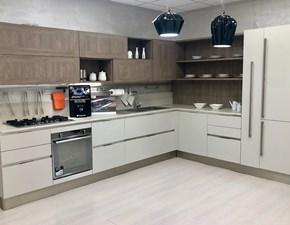 Cucina ad angolo in laminato materico tortora Ethica go frame a prezzo ribassato