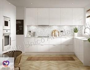 Cucina ad angolo in legno bianca Cleany a prezzo scontato