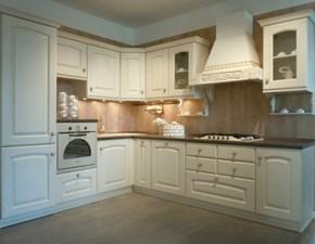 Cucina ad angolo in legno bianca Magda decapè a prezzo ribassato