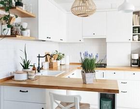 Cucina ad angolo in legno bianca Mobilike freya a prezzo scontato