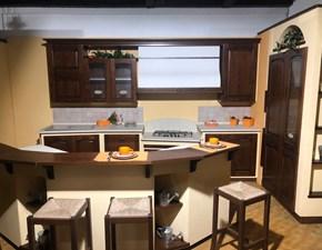 Cucina ad angolo in legno noce Focolare  a prezzo scontato