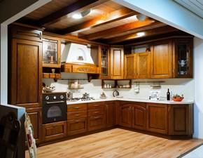 Cucina ad angolo in legno noce Gloria a prezzo scontato