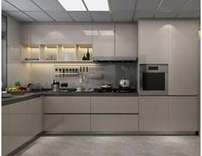 Cucina ad angolo in polimerico lucido grigio Premier a prezzo scontato