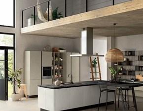 Cucina ad isola in laminato materico grigio Cucina maxi colonne industria con isola   e piano pensola in offerta    a prezzo scontato