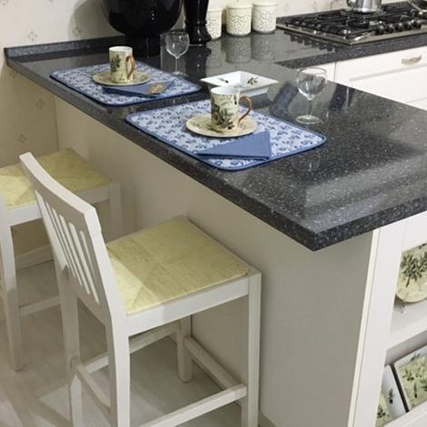Cucina agnese in legno frassino poro aperto bianco con bancone penisola cucine a prezzi scontati - Bancone cucina legno ...