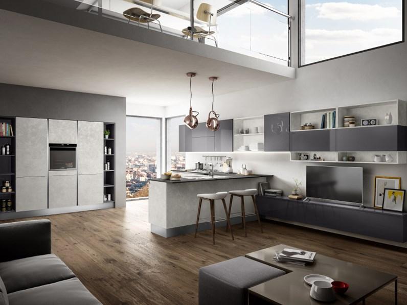 Ala cucine cucina cucina in ecomalta calce e laccato lucido grafite scontato del - Cucine ala prezzi ...