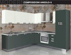 Cucina altri colori moderna ad angolo Composizione ad angolo 5 Arrex in Offerta Outlet