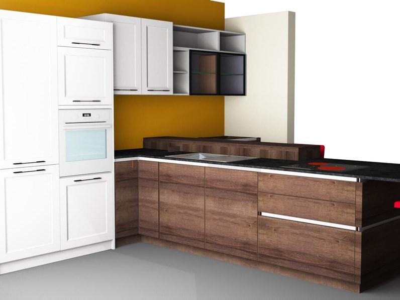Cucina altri colori moderna con penisola glamour artigianale in offerta outlet - Colori cucina moderna ...