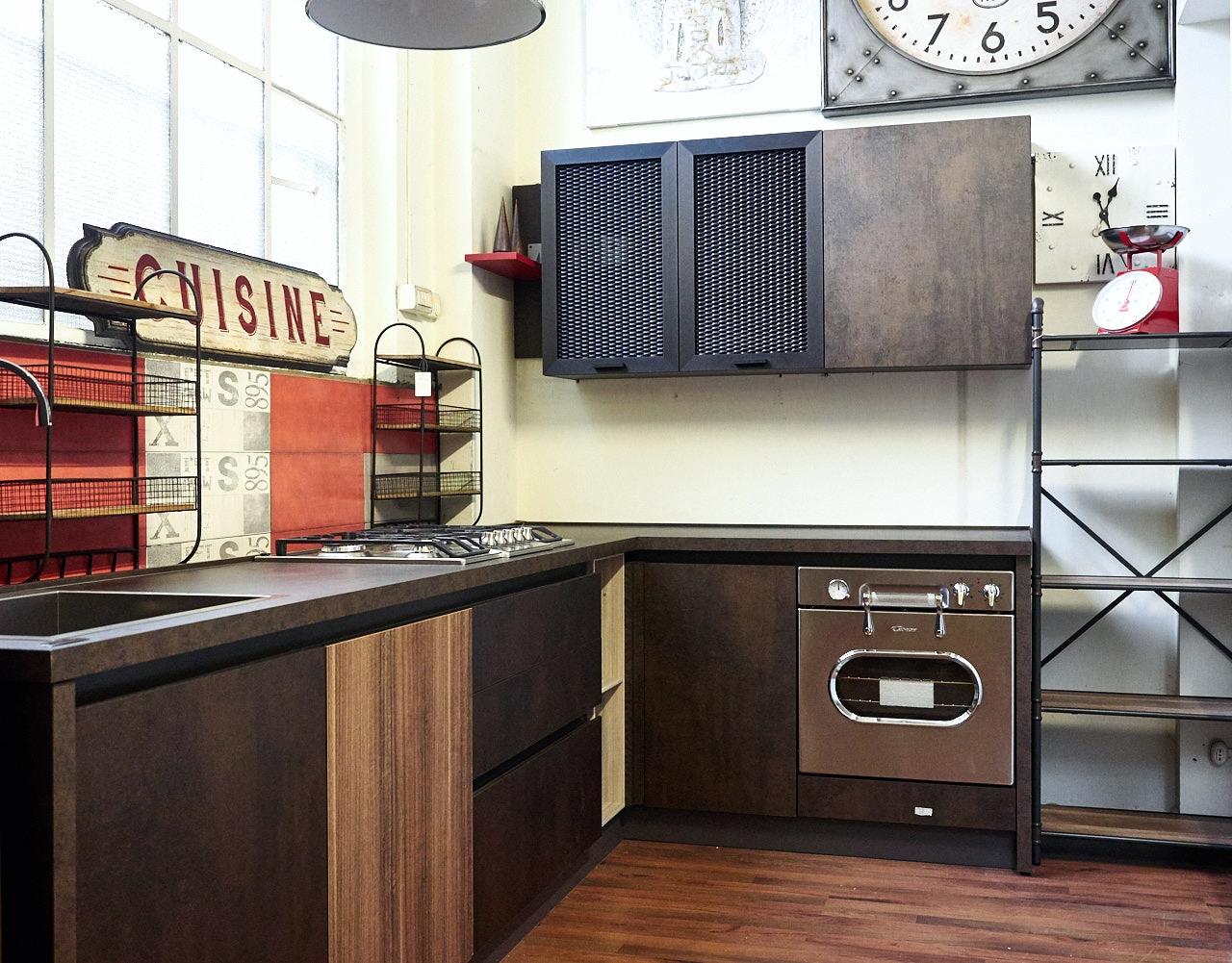 Cucina angolare industriale ossido bronzo e ferro in offerta outlet nuovimondi cucine a prezzi - Pensile angolare cucina ...