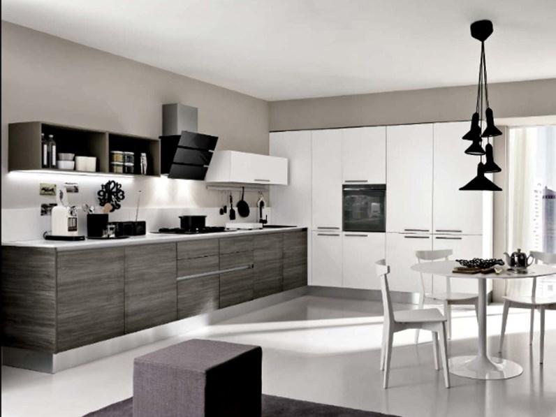 Cucina angolare max lineare essenza grigia moderna con - Cucine con angolo dispensa ...